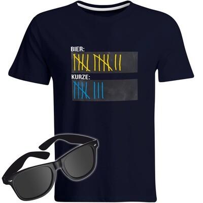 T-Shirt Strichliste Bier & Kurze mit Kreide beschreibbar inkl. Partybrille (Herren, Rundhals, Farbe Navy)