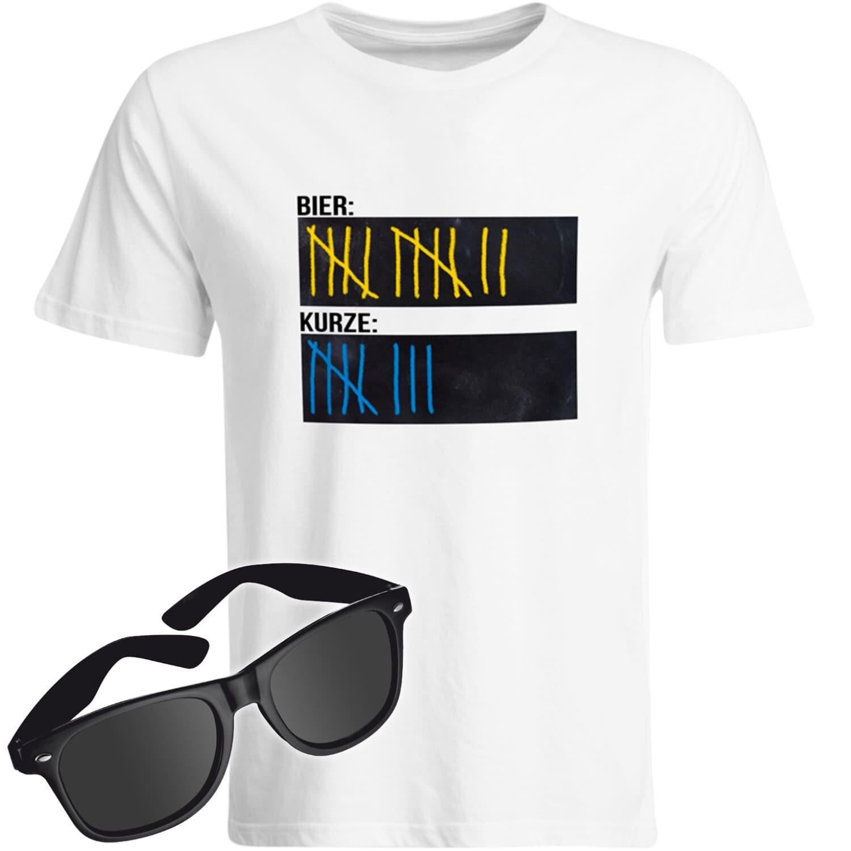 T-Shirt Strichliste Bier & Kurze mit Kreide beschreibbar inkl. Partybrille (Herren, Rundhals, Farbe Weiß)