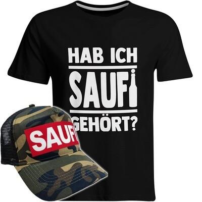 Hab ich Saufi gehört T-Shirt (Herren) inkl. SAUFI Truckercap (Camouflage)
