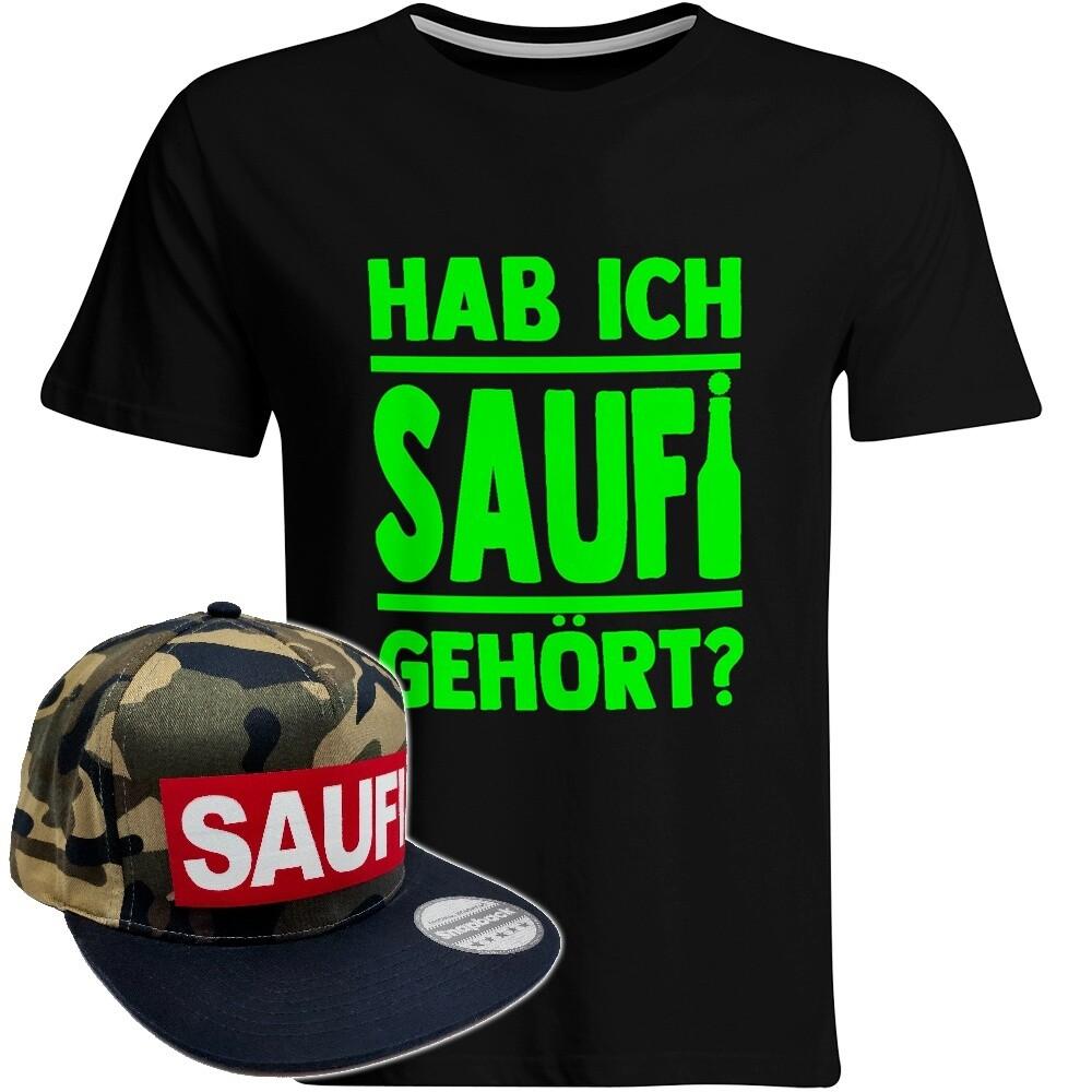 Hab ich Saufi gehört T-Shirt (Herren) inkl. Original SAUFI Snapback (Camouflage)