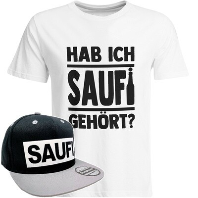 Hab ich Saufi gehört T-Shirt (Herren) inkl. Original SAUFI Snapback (Schwarz/Grau/Weiß)