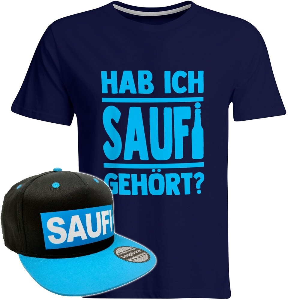 Hab ich Saufi gehört T-Shirt (Herren) inkl. Original SAUFI Snapback (Schwarz/Blau)