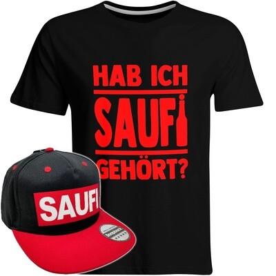 Hab ich Saufi gehört T-Shirt (Herren) inkl. Original SAUFI Snapback (Schwarz/Rot)