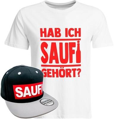 Hab ich Saufi gehört T-Shirt (Herren) inkl. Original SAUFI Snapback (Schwarz/Grau/Rot)