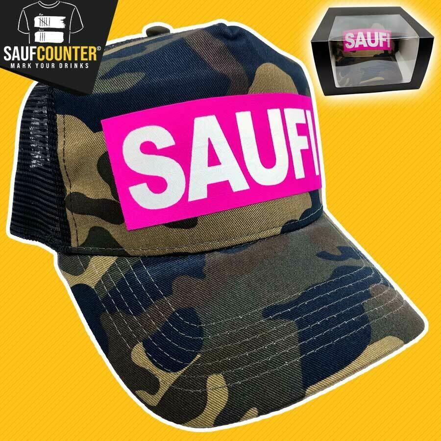 SAUFI Truckercap inkl. Aufbewahrungsbox mit Sichtfenster (Camouflage/Pink/Weiß)