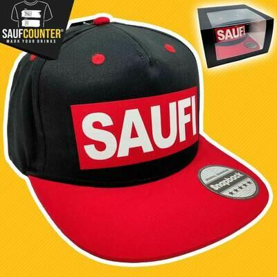 SAUFI Snapback inkl. Aufbewahrungsbox mit Sichtfenster  (Schwarz/Rot/Weiß)