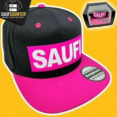 SAUFI Snapback inkl. Aufbewahrungsbox mit Sichtfenster (Schwarz/Pink/Weiß)