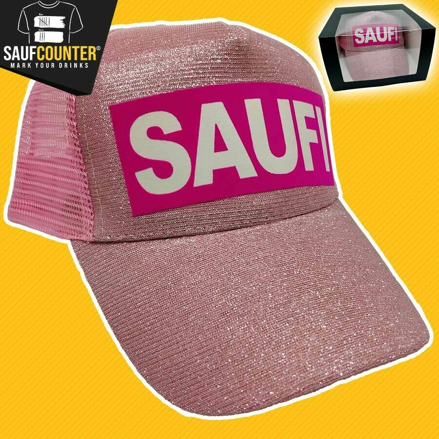 SAUFI Duo Color Truckercap im Glitzerlook inkl. Aufbewahrungsbox mit Sichtfenster (Rosa)