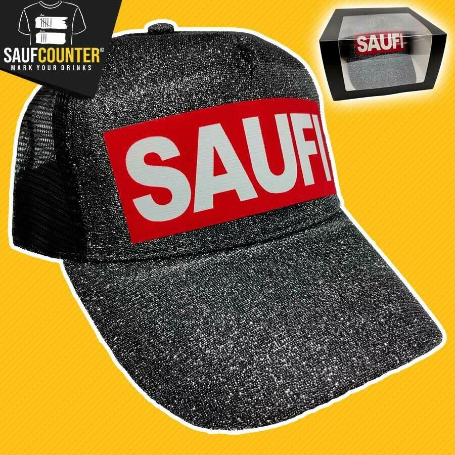 SAUFI Duo Color Truckercap im Glitzerlook inkl. Aufbewahrungsbox mit Sichtfenster (Schwarz)