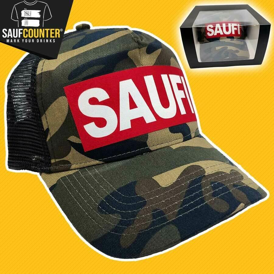 SAUFI Truckercap inkl. Aufbewahrungsbox mit Sichtfenster (Camouflage/Rot/Weiß)