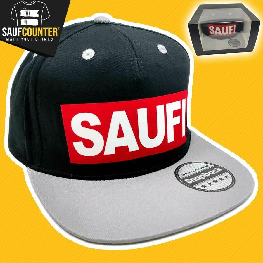 SAUFI Snapback inkl. Aufbewahrungsbox mit Sichtfenster (Schwarz/Grau/Rot)