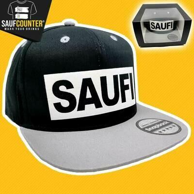 SAUFI Snapback inkl. Aufbewahrungsbox mit Sichtfenster (Schwarz/Grau/Weiß)