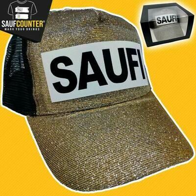 SAUFI Duo Color Truckercap im Glitzerlook inkl. Aufbewahrungsbox mit Sichtfenster (Gold)