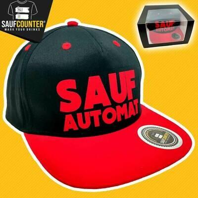 SAUFAUTOMAT Snapback inkl. Aufbewahrungsbox mit Sichtfenster  (Schwarz/Rot)