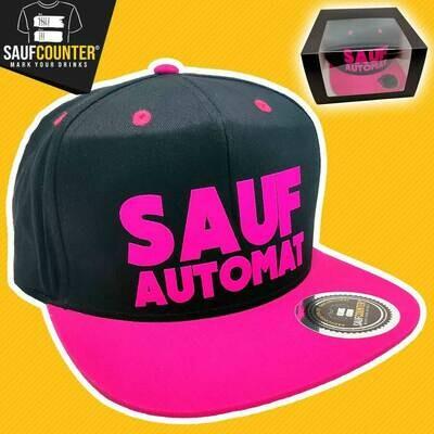 SAUFAUTOMAT Snapback inkl. Aufbewahrungsbox mit Sichtfenster (Schwarz/Pink)