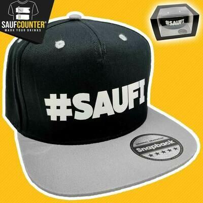 #SAUFI Snapback inkl. Aufbewahrungsbox mit Sichtfenster (Schwarz/Grau)