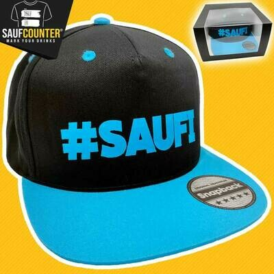 #SAUFI Snapback inkl. Aufbewahrungsbox mit Sichtfenster (Schwarz/Blau)