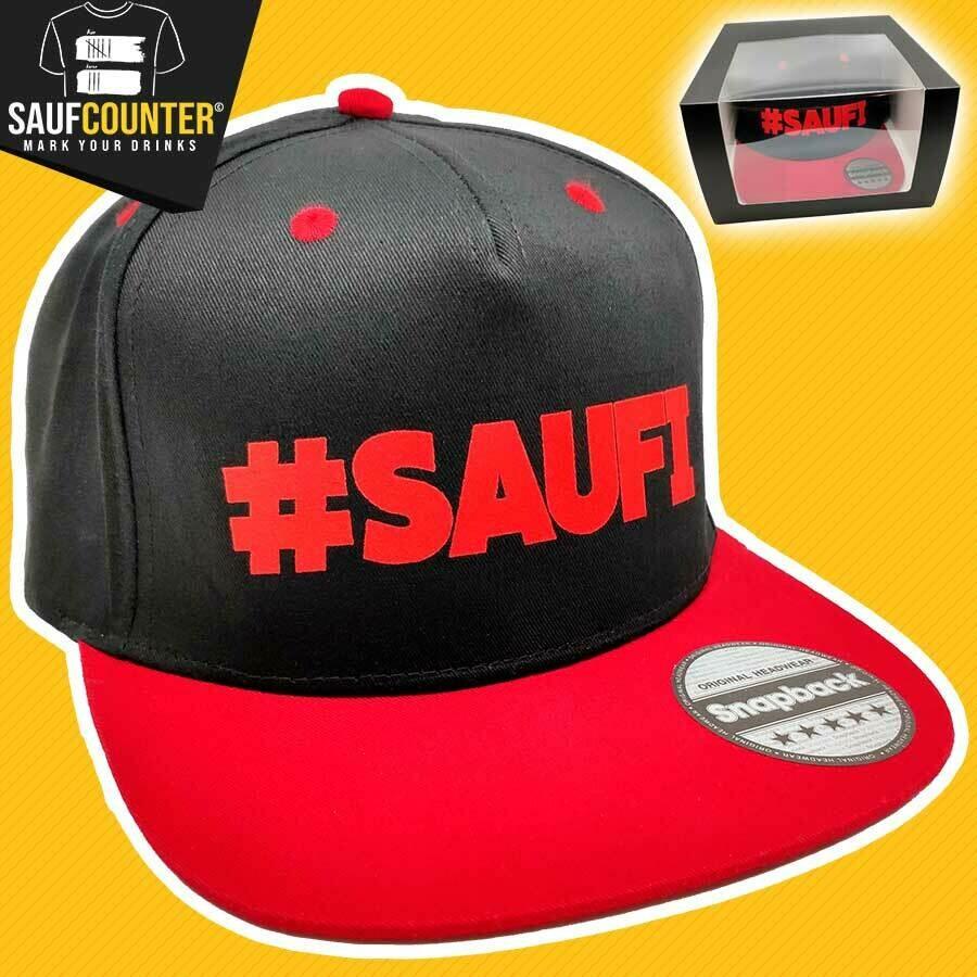 #SAUFI Snapback inkl. Aufbewahrungsbox mit Sichtfenster (Schwarz/Rot)