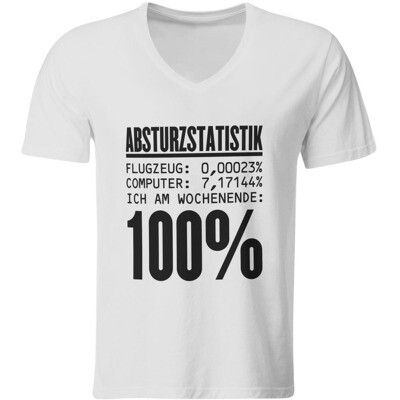 Absturzstatistik T-Shirt (Herren, V-Ausschnitt)