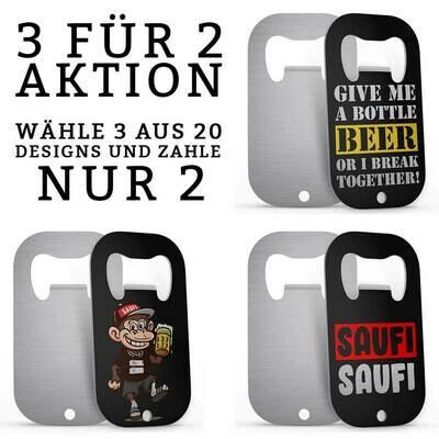Fun Edelstahl Flaschenöffner (3 für 2 Aktion)