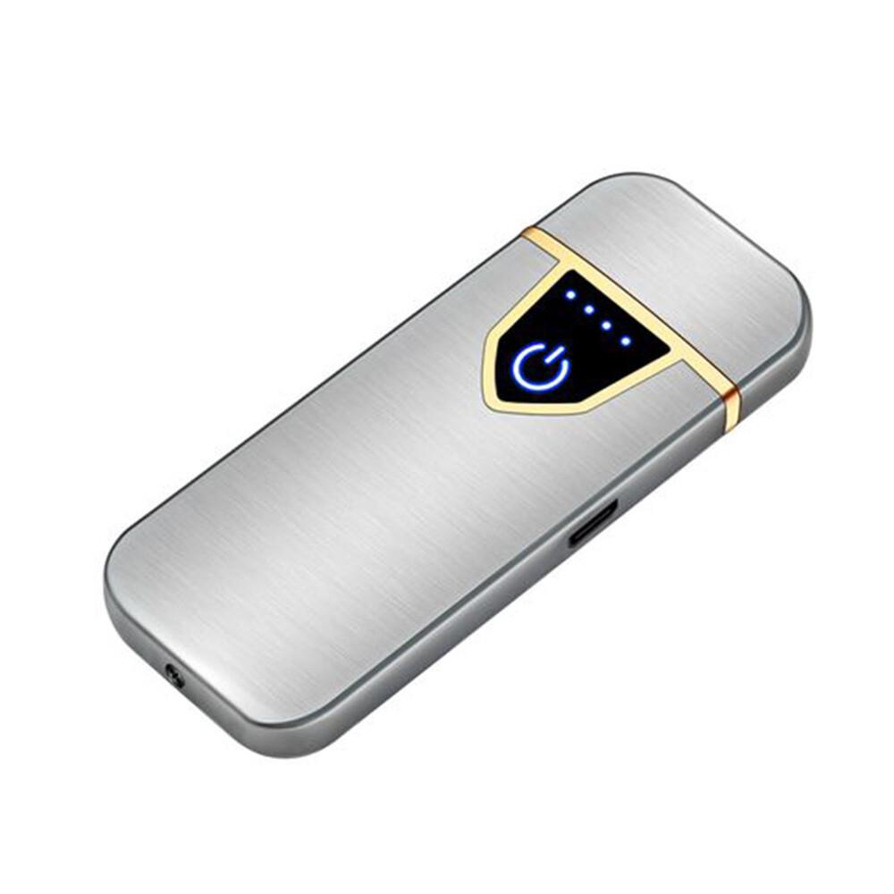 USB Lichtwellen Feuerzeug inkl. Micro USB Kabel und Geschenkbox (Farbe Silber)