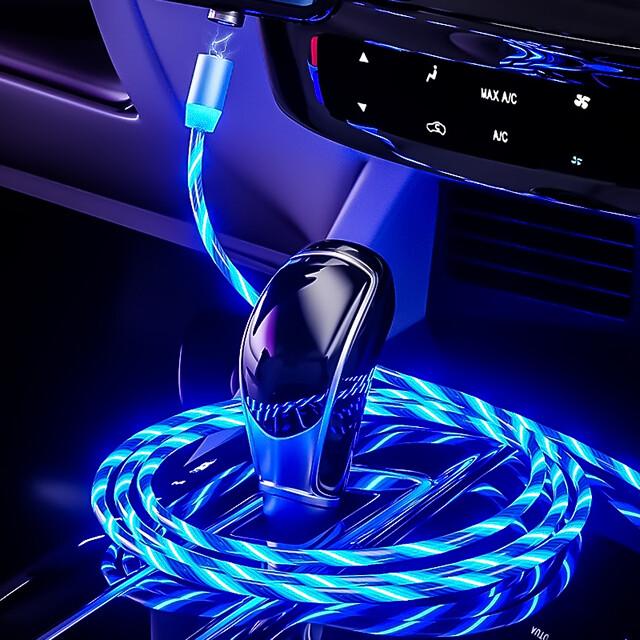 Beleuchtetes 3 in 1 LED USB Ladekabel mit Magnetanschluss und Lauflichtfunktion, kompatibel mit Lightning-, Micro-USB sowie Type-C Anschluss (Farbe Blau)