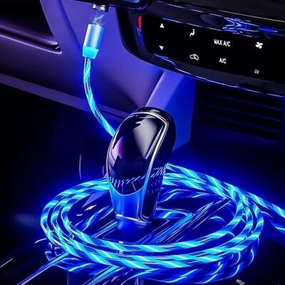 Beleuchtetes 3 in 1 LED USB Ladekabel mit Magnetanschluss und Lauflichtfunktion, kompatibel mit Lightning-, Micro-USB sowie Type-C Anschluss