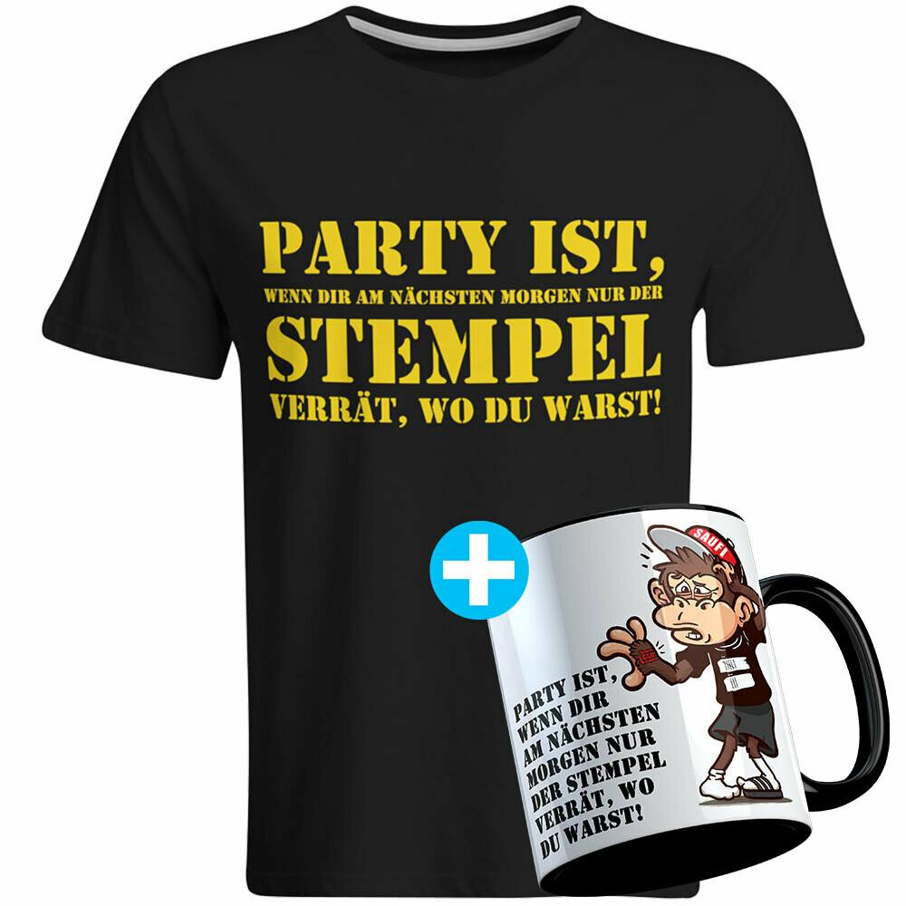 Party ist, wenn dir am nächsten Morgen nur der Stempel verrät, wo du warst Geschenkset inkl. Tasse (Herren, Rundhals Ausschnitt, verschiedene Farben)