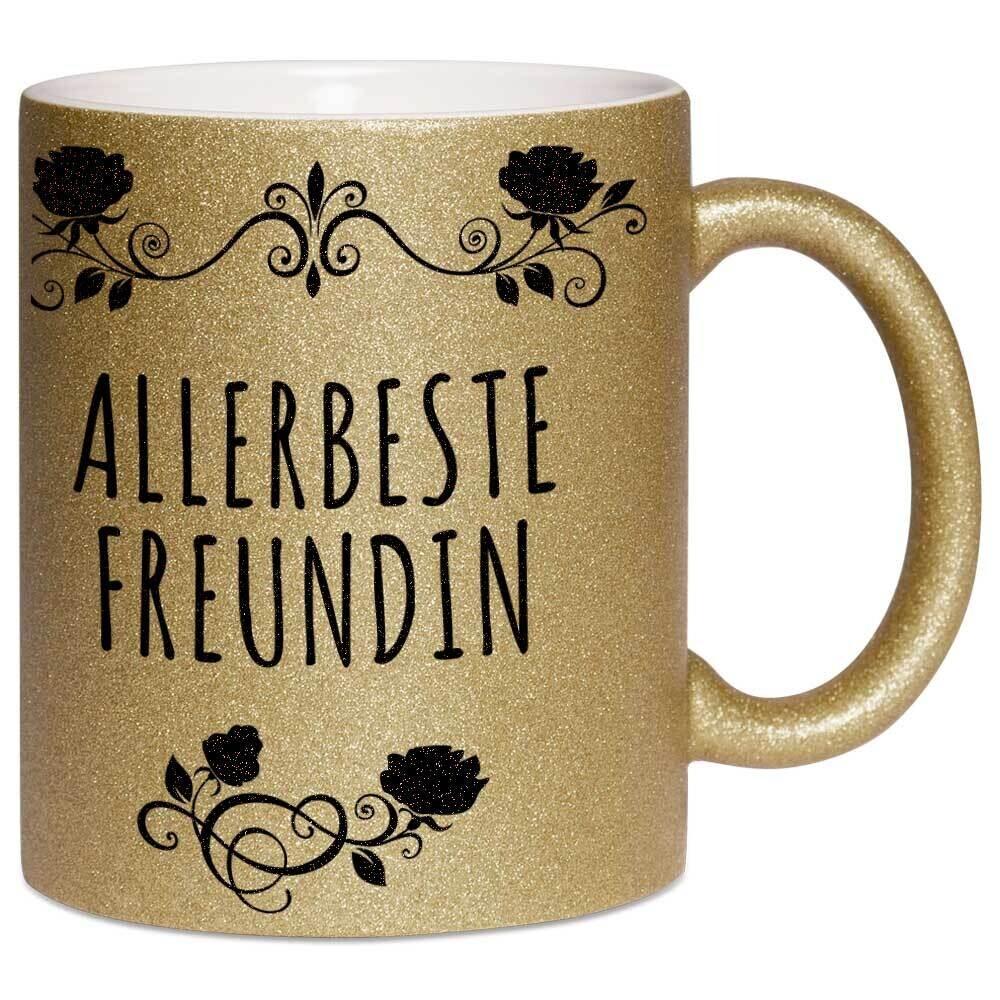 Allerbeste Freundin Tasse mit Glitzereffekt (Glitzertasse)