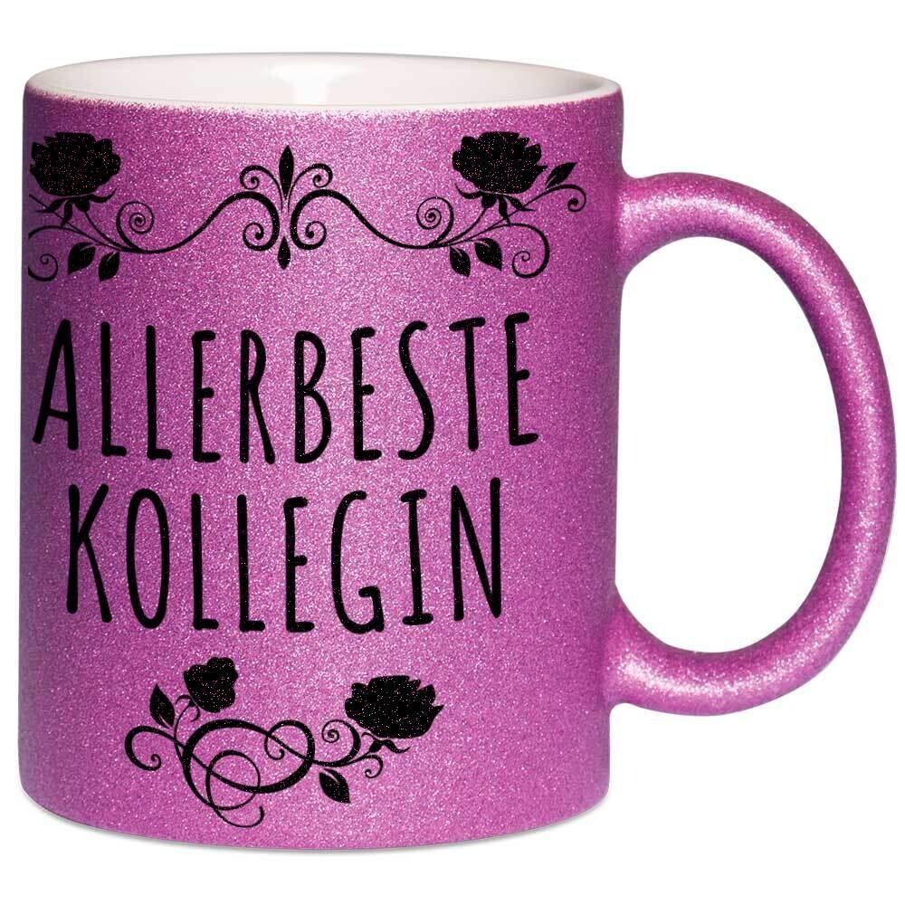 Allerbeste Kollegin Tasse mit Glitzereffekt (Glitzertasse)