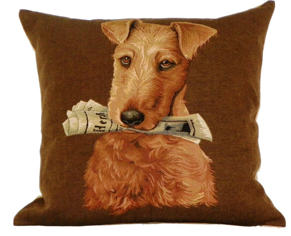 Belgian tapestry - IRISH TERRIER WITH MAGAZINE