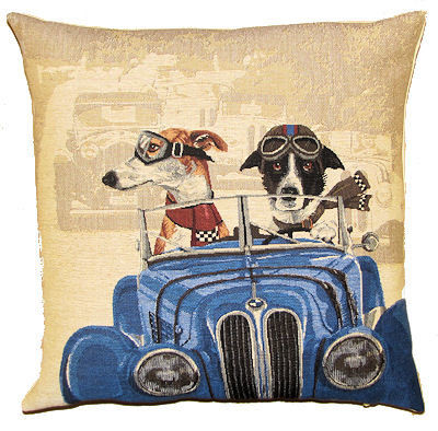 Belgian tapestry - DOGS IN BLUE CAR