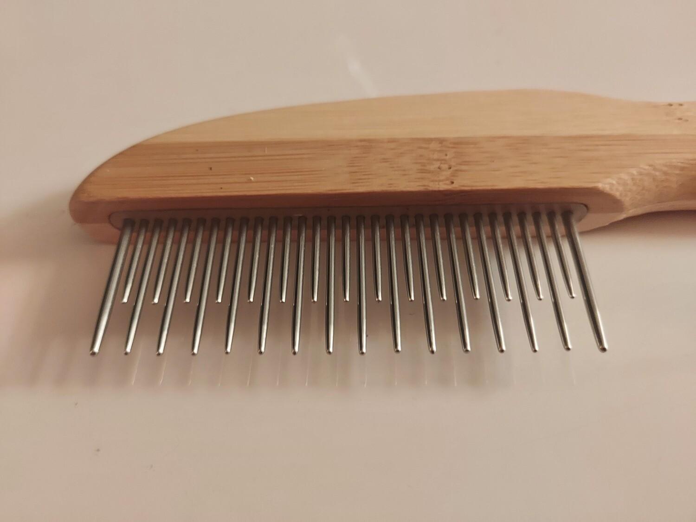 Detangler comb rotating - DOUBLE PINS, BAMBOO