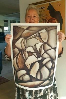 SCHNAUZER IN CUBISM, art print 45x60cm