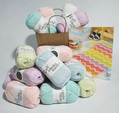 Mexican Wave baby Blanket Kit B Pastel Large