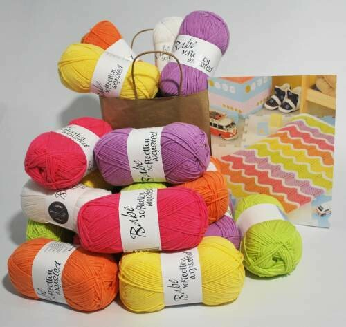 Mexican Wave baby Blanket Kit A Bright - Small