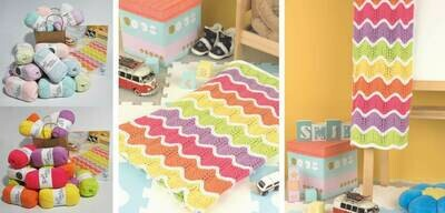 Mexican Wave baby Blanket Kit B Pastel Small