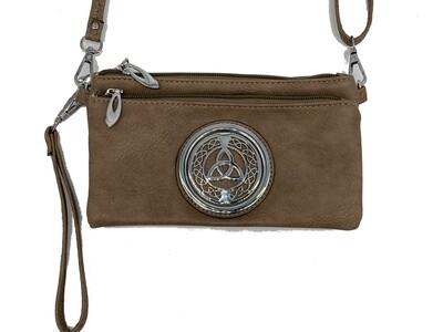 7519 Tri Zip Cell Phone Bag khaki