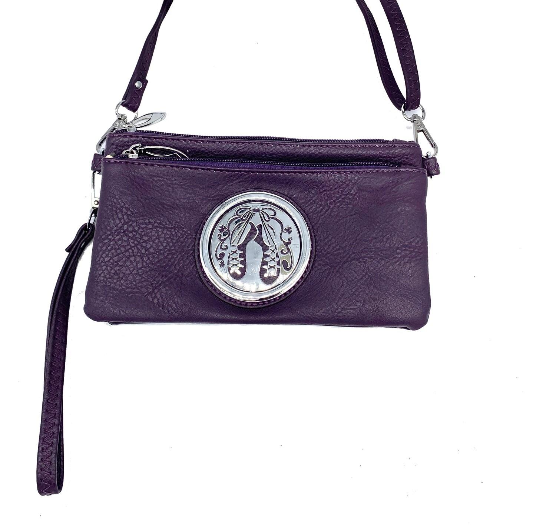 7519 Tri Zip Cell Phone Bag purple