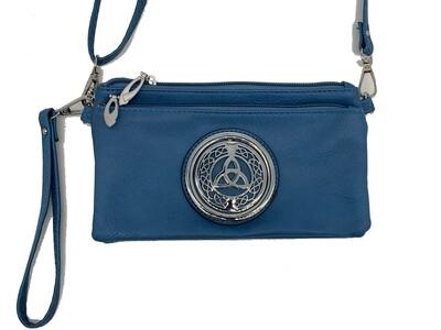 7519  Tri Zip Cell Phone Bag Sky Blue