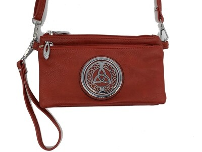 7519 Tri Zip Cell Phone Bag red