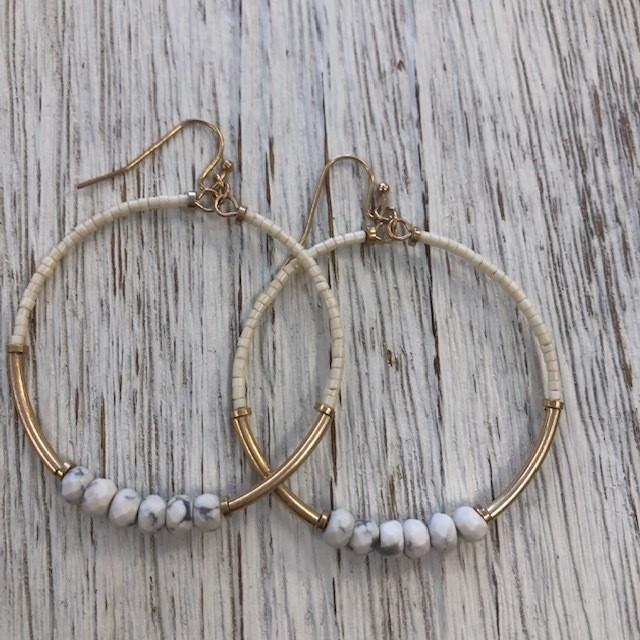 Creme Six Bead Earrings