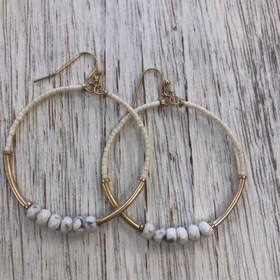 Creme Six Bead Earrings