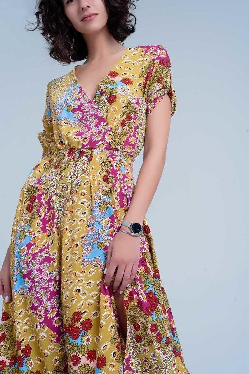 Green Dress W/ Flower Print