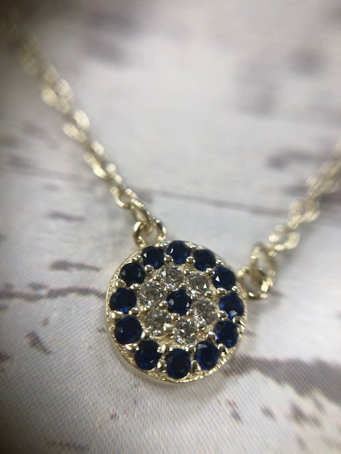 Sterling Navy Evil Eye Necklace