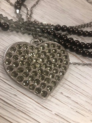 Sisilia Chocolate Pearl Heart Necklace