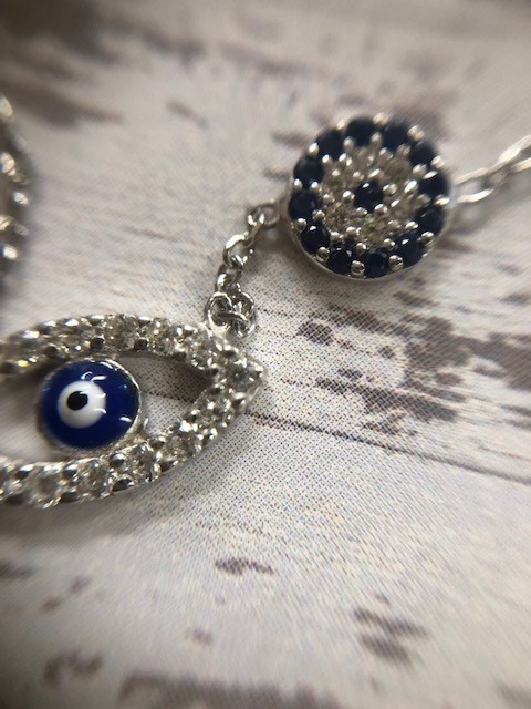 Double EE Navy Gem Necklace