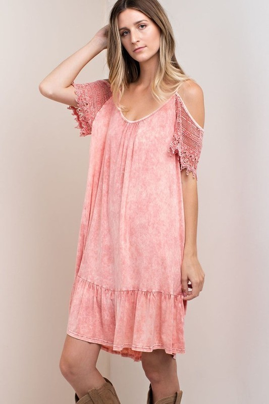 Distressed Stone Washed Open Sleeve Dress