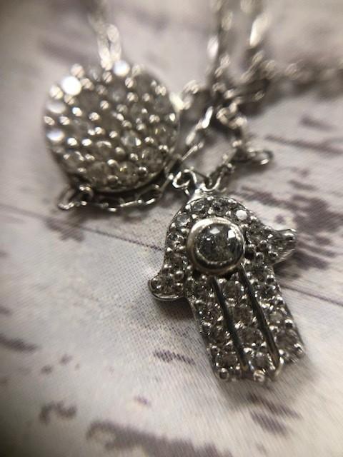 Pave' Hamsa Necklace