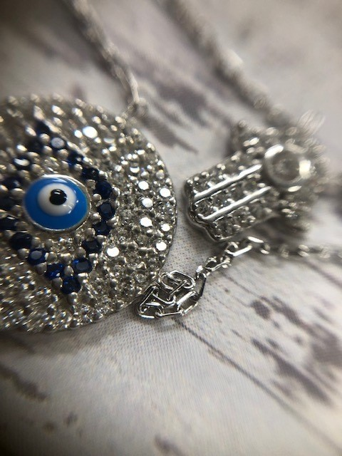 Large Evil and Hamsa Necklace